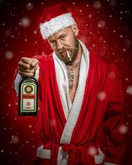 Bäd Santa (Tortured Mind) Tags: 54 70200mmf28 jakematti kuopio suomi bad bearded booze christmas d800 dslr fi homestudio humour nikkor nikon portrait red santa snow xmas zoom