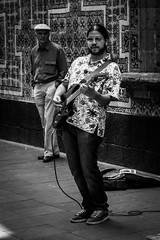 The classical watcher. (Christian S. Mata) Tags: nikon d5300 band contrast black white street mxico zcalo azulejos 50mm nikkor 35mm guitar