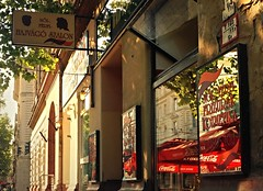 Morning reflections (elinor04 thanks for 22,000,000+ views!) Tags: old city morning summer signs shop vintage mirror design budapest sunny retro shopwindow 1970s hairdressers reflction terzvros