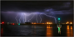 Fremantle harbour lightning (beninfreo) Tags: cloud storm reflection weather night canon australia perth bolt lightning fremantle thunder westernaustralia fremantleharbour qube 5d3