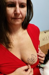 sexy mom (Tina-mom of two) Tags: woman hot sexy tattoo mom breasts boobs wife motherfucker braless sexywife sexymom