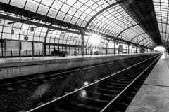 Breaking through (explored) (ToDoe) Tags: bw sun berlin ice glass station architecture steel tracks eisenbahn railway bahnhof lensflare contrejour bahnsteig spandau schwarzweis berlinspandau icebahnhof