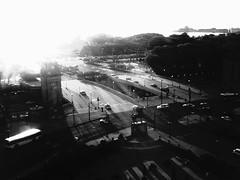 PICT0352 (Kiwithing) Tags: street blackandwhite chicago cars morninglight blackwhite lowresolution downtown toycamera lofi highcontrast il sunflare congressplaza toydigital digitallofi lofidigital hardmonochrome digitalharinezumi40