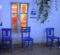 Turkey (Bodrum) Painting exhibition-Blue chairs for the tired visitors (ustung) Tags: blue turkey painting nikon chairs exhibition bodrum