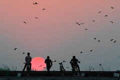 New Horizon (Dilwar Mandal) Tags: sunset people sun west birds silhouette nikon friend horizon cycle nikkor bengal lalbagh westbengal murshidabad d5100 nikond5100 cossimbazar
