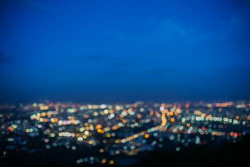 Lighting bokeh top view of Chiang Mai, Thailand