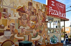 The Pizza Place, woman, baby, and dog (David McSpadden) Tags: sanfrancisco street mural wallart noriega jazzmen thepizzaplace