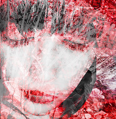 Veiled (virtually_supine popping in and out) Tags: red white face photomanipulation lace patterns creative textures layers grainy hss digitalartwork womansface boldcolours sliderssunday photoshopelements9 awardtreechallenge1360~redandwhitefudge
