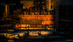 2015 - Vancouver - Sun-up - 4 of 4 (Ted's photos - For Me & You) Tags: vancouver truck sunrise construction scaffolding shadows flags vehicles constructioncranes vancouverbc sunreflection tarps vancouvercity rogersarena cans2s tedsphotos orangetarps