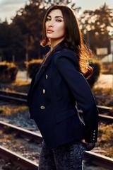 Tanya (Aloxxxy) Tags: female young outdoor portrait brunette goldenlight rails blue jacket jeans profotob1 canon5dmarkiii sofia bulgaria beautiful hairmodel