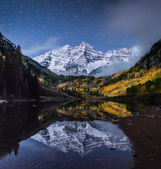 TWINKLE BELLS (wilsonaxpe) Tags: maroonbells colorado stars nightscape nocturnal aspen coloradoicons