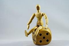 IMG_8045 (LezFoto) Tags: 50mm 125mm wood wooden dice manikin woodenmanikin woodendice sitting 6 5 six five canon eos 700d ef100mm f28l closeup macro fun