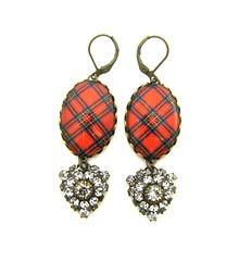 Ancient Romance Series - Scottish Tartans Collection - Royal Stewart Clan Tartan Earrings with Vintage Czech Rhinestone Charms