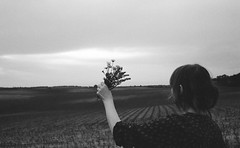 to the sun (analogrem) Tags: woman flowers bouquet analog blackandwhite fileds meadow strange greeting hand sky waveing arm film goodbye