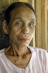 Chin village woman (bag_lady) Tags: chin tribal ethnic chinvillage rakhinestate myanmar burma chomayvillage tattoos spiderwebtattoo tradition culture