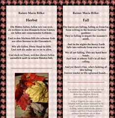 Gedicht von rainer maria rilke die blatter fallen