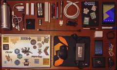 EDC Engineer R&D (joaopedrodias) Tags: edc everydaycarry bottle laptop cables mousepad cellphone battery notepad pen wallet keys tablet nexus google xiaomi band mi krom nox msi nokia lumia charger moleskine oneil cat6