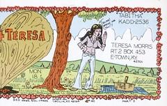 Red Hawk #40: Teresa - Elizabethtown, Kentucky (73sand88s by Cardboard America) Tags: qsl cbradio cb vintage postcard twopart woman kentucky picnic