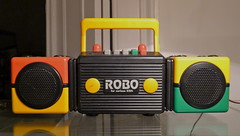 Sanyo, radiocassette , ROBO for curious Kids, 1990 (Winfried Scheuer) Tags: transistor postmodern benetton colors myfirstsony children color radiokasette kofferradio sony kinder toy history design memphis