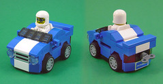 Mini Mustang (Unijob Lindo) Tags: lego car cars racing sports mini miniature micro mighty micros microfighters helmet fig figure blue white stripe stripes toy toys tire tires racers enginerd enginerds slope curved slopes block brick bricks wacky races