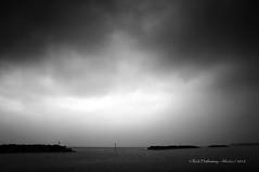 Foggy Elmer Beach (Rick Hathaway - rhfo2o (400,000 views!)) Tags: rhfo2o canon canoneos7d elmer elmersands bognorregis westsussex beach sea seaside sand waves seadefences channelmarker horizon sky skies clouds fog bw blackandwhite mono seascape
