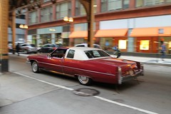 Sail On (Flint Foto Factory) Tags: chicago illinois urban city autumn fall november 2016 downtown loop monroe wells intersection 1976 cadillac coupe deville red 2door white landau vinyl top moving motion inmotion classic american luxury car morning rushhour traffic dayof game7 worldseries baseball chicagocubs elusive catch worldcars icm intentionalcameramovement