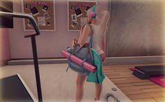 Gym Rat (Juliet Nirvana) Tags: second life secondlife sl gym treadmill blueberry zenith oleander catwa maitreya black bantam ppd pink pearl design