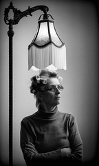 P1010100 Beam Me Up, Scottie! (Steve's Outtakes) Tags: woman hair curlers lamp bw startrek