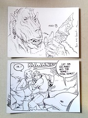 Sketches by Simon Roy (top) and Brandon Graham (bottom) (Mike Baehr) Tags: simonroy brandongraham kamandi comics originalart