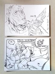 Sketches by Simon Roy (top) and Brandon Graham (bottom) (Mike Baehr) Tags: simonroy brandongraham kamandi comics originalart