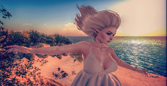 Blown over (Jayde Askari) Tags: beach cliff wind blow editorial hair dress elf blonde sun sunset sunrise creamys