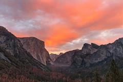 Magical Yosemite (Sribha Jain) Tags: tunnelview yosemite elcapitan halfdome bridalveilfalls cathedralrock autumn sunrise cloudy