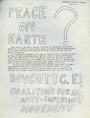 Peace On Earth, December 1969 (Regional History Center & NIU Archives) Tags: boycott demonstration protest niu northernillinoisuniversity students activism