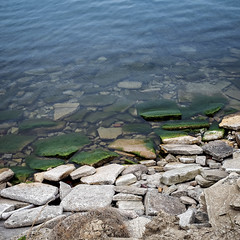 Mossy Rocks (HJharland5) Tags: rocks lake shoreline moss mossy green blue lakeerie cleveland ohio outside