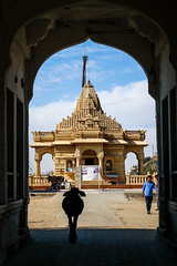 Jain Dharamshala temple in Jaisalmer, India (travelingmipo) Tags: travel photo india asia     rajasthan   goldencity  jaisalmer  street jaindharamshala jain temple   architecture arch animal  gate exterior