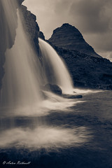 Overwatch (JustAnotherCanonOperator (JACO)) Tags: autumn rocks grey landscape monochrome river iceland water kirkjufell bw splittone waterfall mountain sunset cold