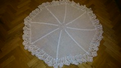 Round picot flower shawl for Caodhlas christening (dochol) Tags: baby cute wool handmade crochet craft yarn blanket christening bebe shawl croche crochethooks haakenwert