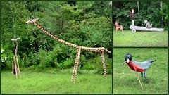 Folk art along the highway (yooperann) Tags: dog man art robin log folk deer giraffes