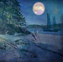 Night Sailing (virtually_supine popping in and out) Tags: sea beach night photomanipulation landscape creative blues monotone textures moonlight layers waterscape sailingboat digitalartwork photoshopelements9 sourceimagebyskagitrenee kreativepeopletreatthis96