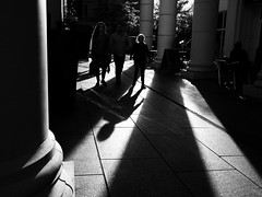 St. Anne's Halo (Feldore) Tags: street family ireland light silhouette st backlight hair square shadows head candid columns halo olympus belfast backlit 18 northern mchugh annes em1 17mm feldore