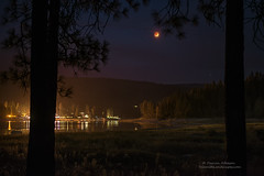 Super Eclipse over Bass Lake (Darvin Atkeson) Tags: moon lake night forest reflections stars fire eclipse glow smoke super basslake darvin atkeson darv lynneal yosemitelandscpaes
