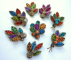 A few new brooches (woolly  fabulous) Tags: green wool leaves felt zipper swirls embroidered brooches frenchknots woollyfabulous