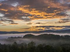 Sunrise Above The Fog (Highlandscape) Tags: morning trees sky orange cloud mist fog sunrise landscape scotland highlands still glow outdoor hill atmosphere pylon craig serene inverness greatglen craigdunain dunain