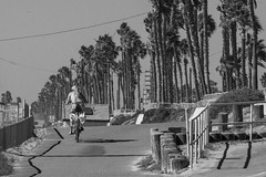 Lady On A Bike (Jose Matutina) Tags: california bw bike bicycle orangecounty huntingtonbeach beachgoer sel55210 sonyalpha6000 sonya6000