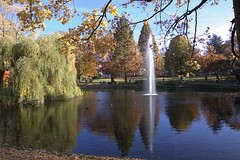 Herbst im Stadtgarten Essen (02) (Stefan_68) Tags: park autumn light color reflection tree nature automne germany deutschland licht pond essen colorful spiegel springbrunnen laub herbst natur fuente stained nrw teich farbe fontana fontaine ruhrgebiet fonte spiegelung spiegelbild baum nordrheinwestfalen bunt stadtpark reflektion color fontein fontne northrhinewestphalia parkanlage bunteslaub