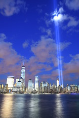 9-11 Tribute In Light 05 (Amaury Laporte) Tags: newyorkcity favorite usa newyork unitedstates 911 landmarks northamerica tributeinlight memorials september11memorial favorite2015