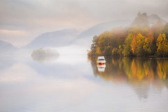 Perfect Moments (Vemsteroo) Tags: morning autumn trees mist lake mountains reflection nature water beautiful fog forest sunrise canon island dawn boat still derwent lakes lakedistrict cumbria fells 5d serene derwentwater tranquil mkiii 2470mm circularpolariser visitengland leefilters visitbritain