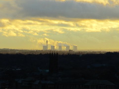 Church tower to cooling towers (White Pass1) Tags: liverpool sunrise dawn churchtower clounds walton waltononthehill merseyside widnes coolingtowers fiddlersferrypowerstation waltonchurch