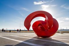 """ARROBA"" (bacasr) Tags: red sea sky sculpture españa abstract travelling clouds mar andalucía rojo cities viajando escultura paseo ciudades cielo nubes promenade abstracto cádiz towns lacaleta"