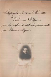 """""""Fotografia fatta al derelitto Alfonso Baima per la richiesta del suo passaporto per Buenos Ayres"""" (sd, 1923 ca)"""